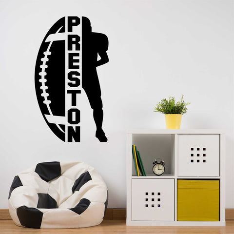 Custom Name Football Player Silhouette | Sports Decals | Vinyl Wall Lettering