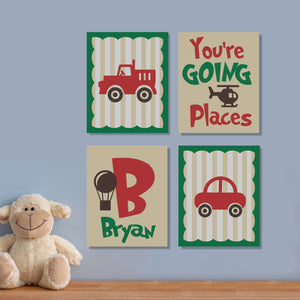 nursery transportation theme canvas paintings