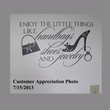 Female Wall Decal Enjoy Little Things Humorous Shopping Theme
