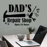 Dad's Repair Shop Decal | Garage Sign Quote | Vinyl Wall Lettering