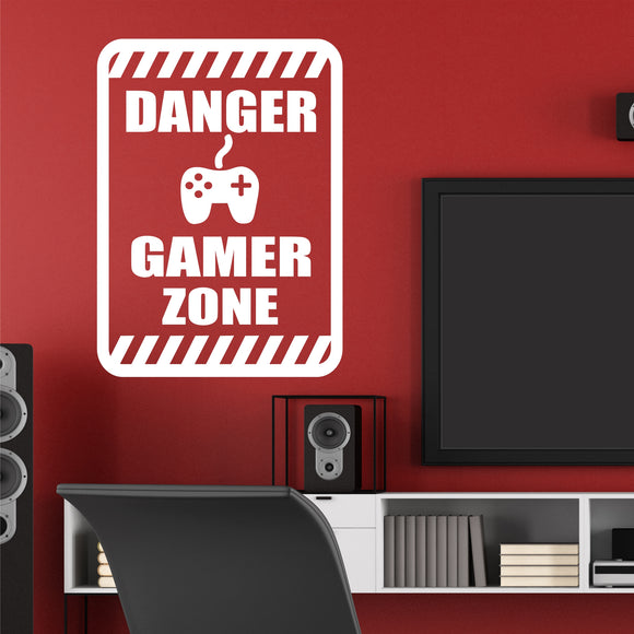Video Game Wall Decal Danger Gamer Zone Teen Vinyl Lettering