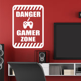 Danger Gamer Zone Sign | Video Game Decal | Vinyl Wall Lettering