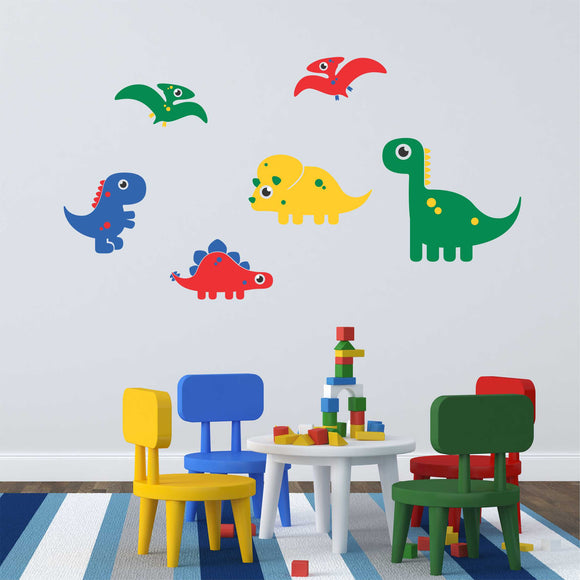 Wall Decal Colorful Dinosaurs Set of 6