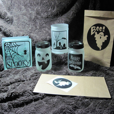 Assorted Halloween Vinyl Decals | DIY Luminaries or Glass Blocks