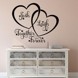 double hearts names wall decal