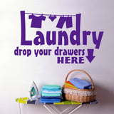 Laundry Drop Drawers | Clothesline Vinyl Decal | Lettering