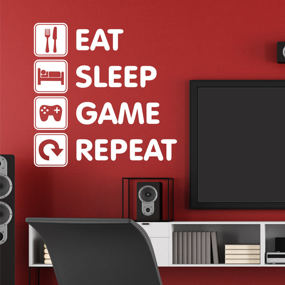Video Game Wall Decal Eat Sleep Game Repeat Teen Gamer Vinyl Lettering