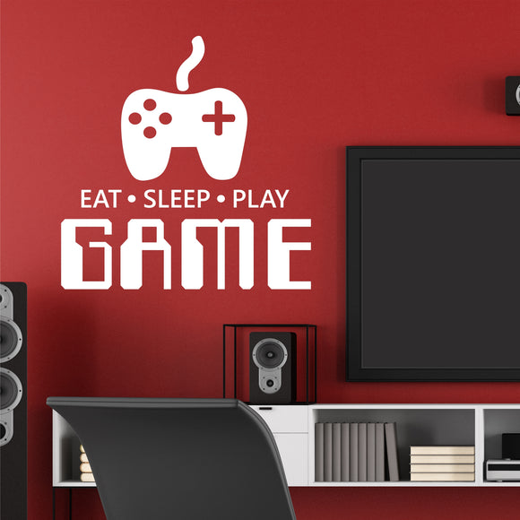 Video Game Wall Decal Eat Sleep Play Game Teen Gamer Vinyl Lettering