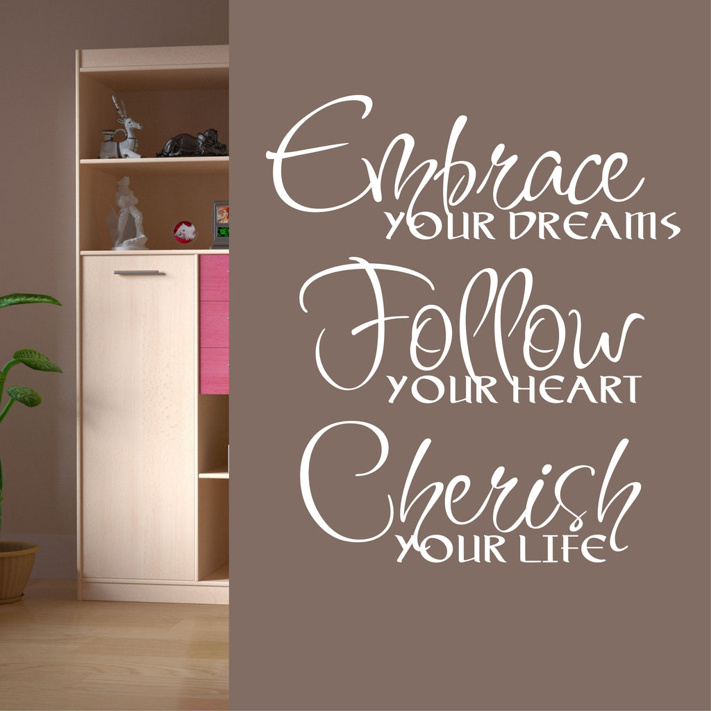 Embrace Dreams Decal | Vinyl Lettering | Wall Quotes