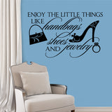Female Wall Decal Enjoy Little Things Humorous Shopping Theme Vinyl Lettering