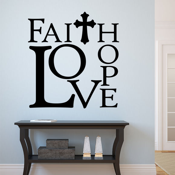 Christian Wall Decal Faith Hope Love Religious Vinyl Lettering