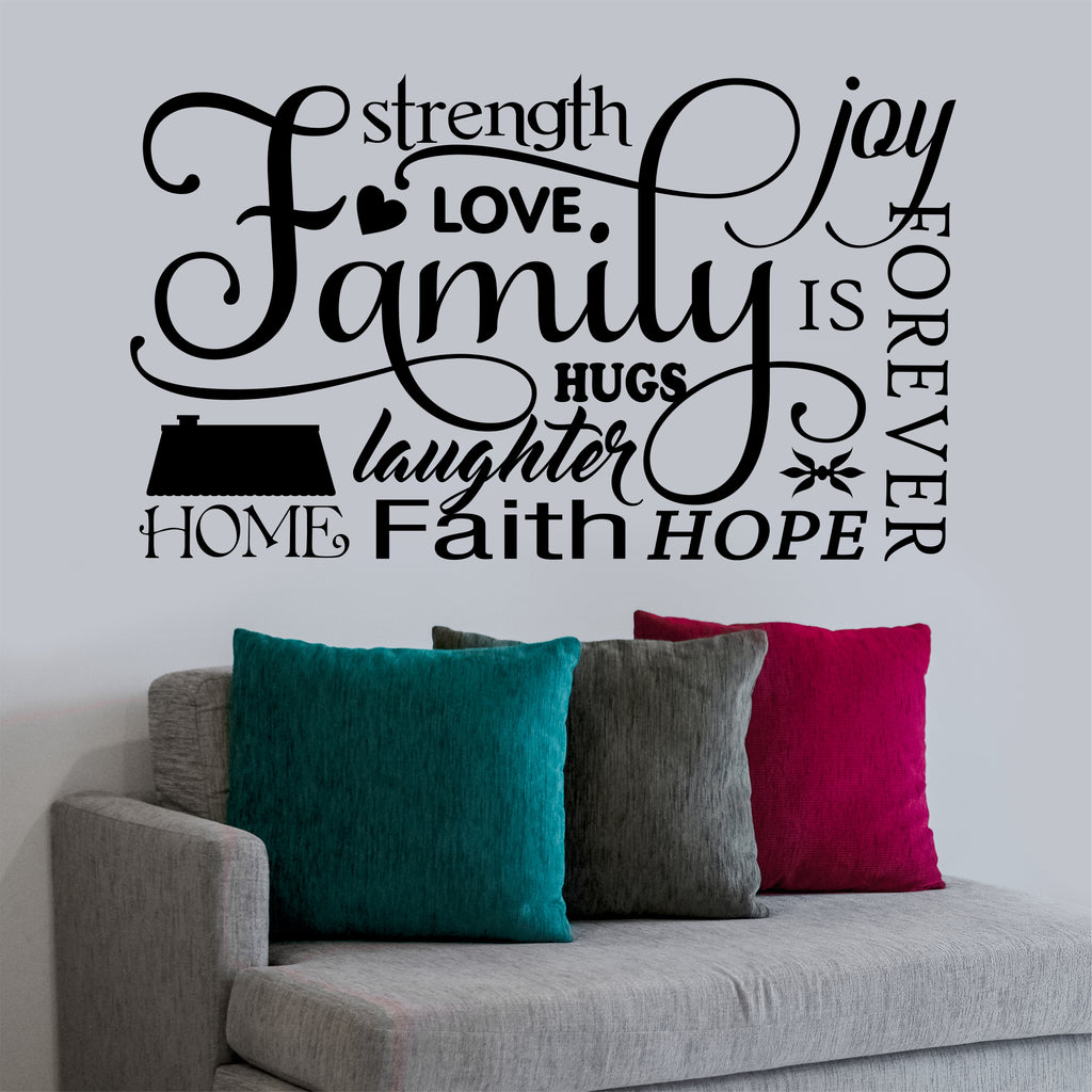 Family Word Collage Decal | Vinyl Lettering | Wall Quotes