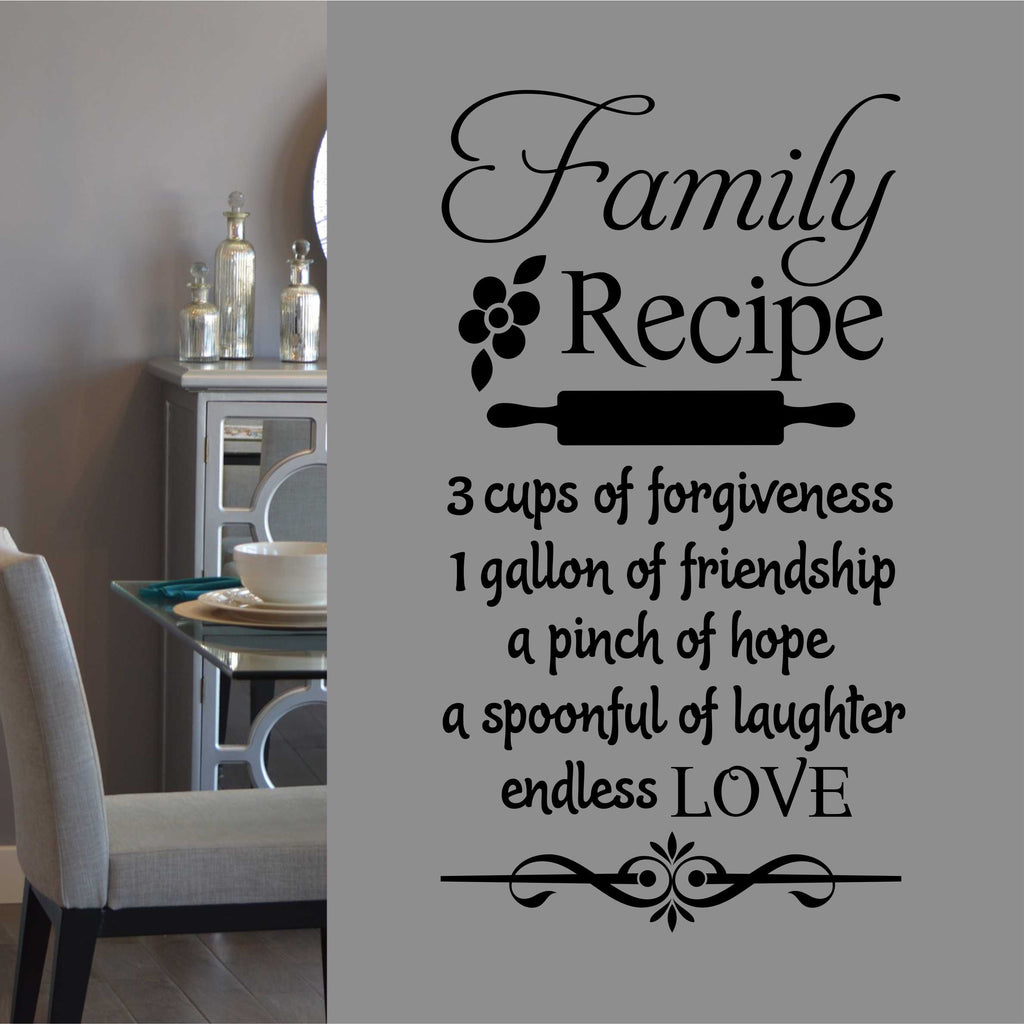 Family Recipe Kitchen Decal Vinyl Wall Lettering