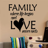 Family Life Begins Love Never Ends | Wall Quotes | Vinyl Wall Lettering