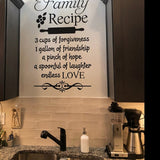 Farmhouse Kitchen Wall Decal Family Recipe Lettering