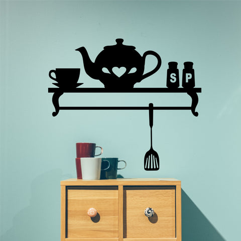 Decorative Faux Teapot Shelf | Vinyl Wall Lettering | Kitchen Decal