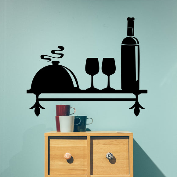 Wine Themed Decorative Shelf Wall Decal