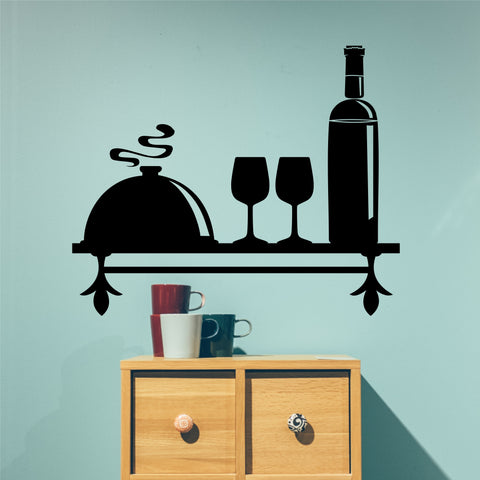 Decorative Faux Bottle Shelf | Vinyl Wall Lettering | Kitchen Decal