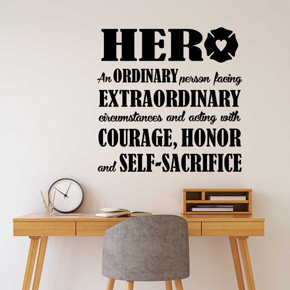 Firefighter Office Wall Decal Fireman Hero Definition Vinyl Lettering