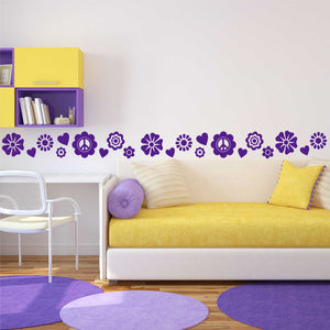 Wall Decal Flower Accent Border