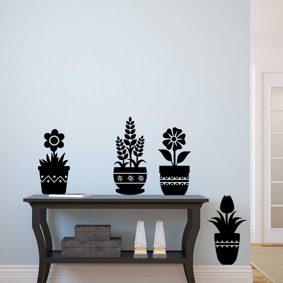 Wall Decal Flower Pot Silhouettes