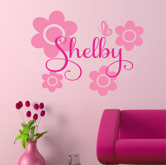 Girl Wall Decal Flowers Butterfly Name