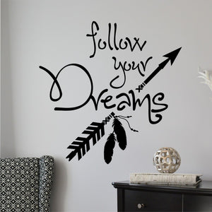 Wall Decal Follow Your Dreams Tribal Arrow