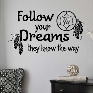Wall Decal Follow Your Dreams Dreamcatcher