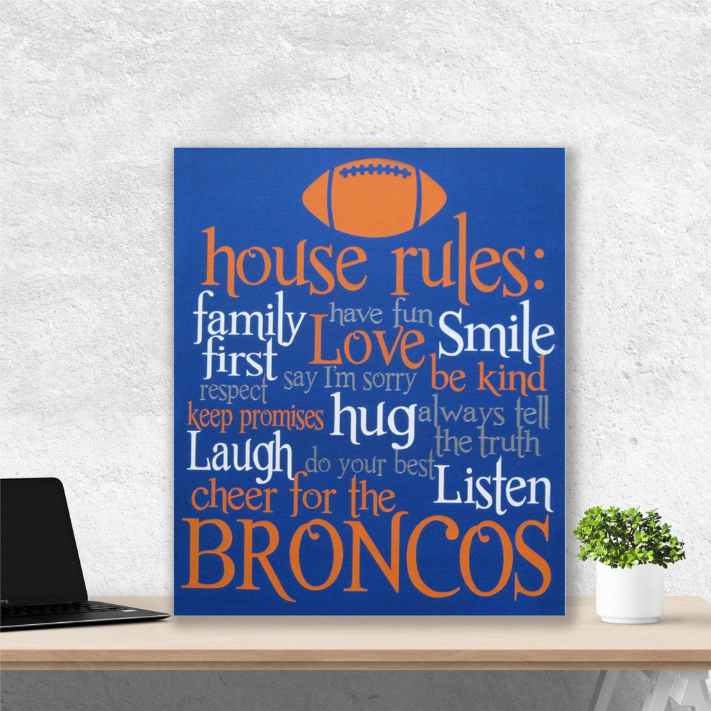Football House Rules Painting | Hand Painted Canvas | Sports Fan Art