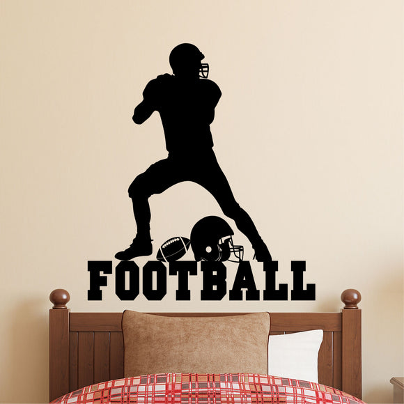 Sports Wall Decal Football Player Silhouette Kids Vinyl Lettering