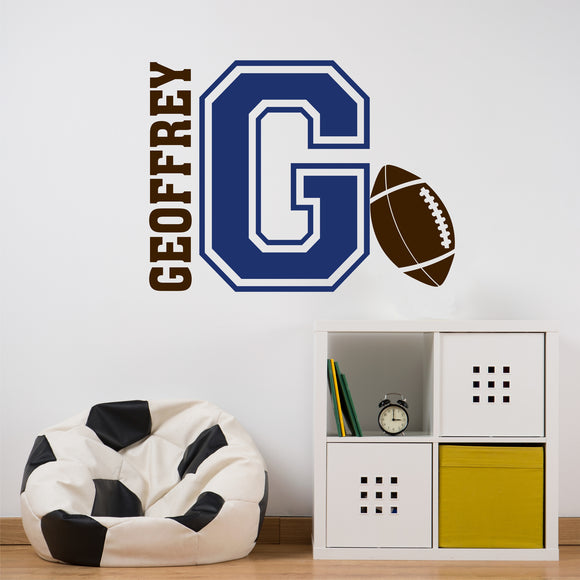 Sports Wall Decal Football Varsity Letter Custom Name Vinyl Lettering