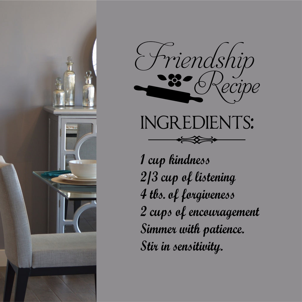 Kitchen Wall Decal Friendship Recipe Farmhouse Whimsical Vinyl Lettering