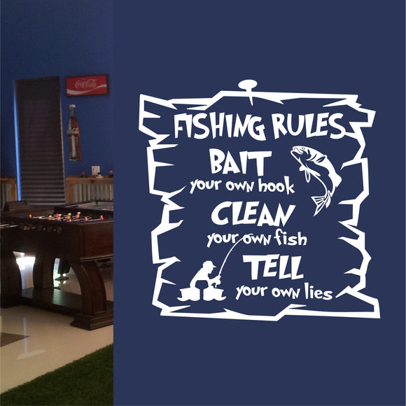 Wall Decal Funny Fishing Rules
