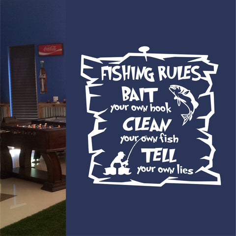 Funny Fishing Rules | Sport Decals | Vinyl Lettering | Wall Quotes