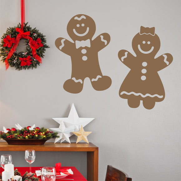 Christmas Wall Decal Gingerbread Boy and Girl Holiday Vinyl Decoration