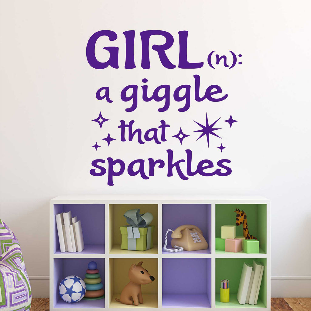 Girl A Giggle That Sparkles | Nursery Decal | Vinyl Wall Lettering