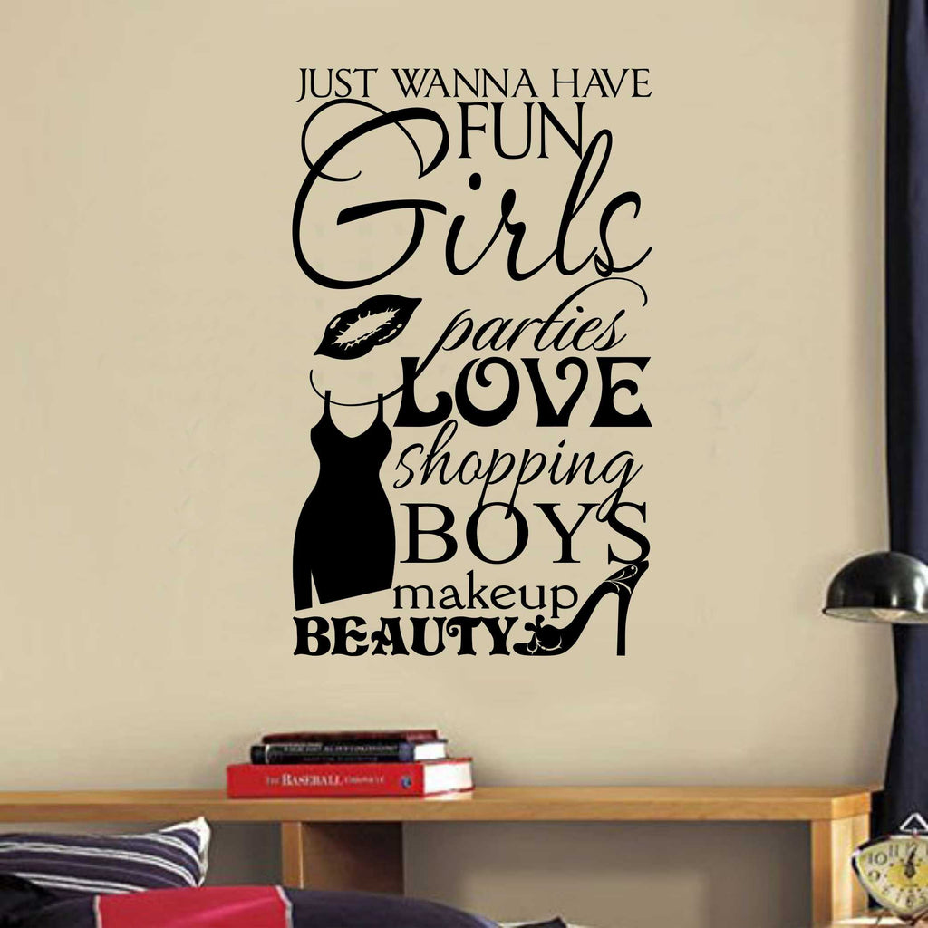 Girls Love Shopping Collage | Vinyl Wall Lettering | Wall Quotes