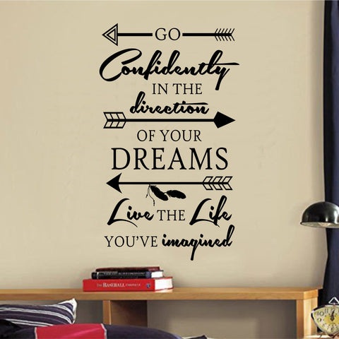 Go Confidently Thoreau Quote | Vinyl Lettering | Wall Decal