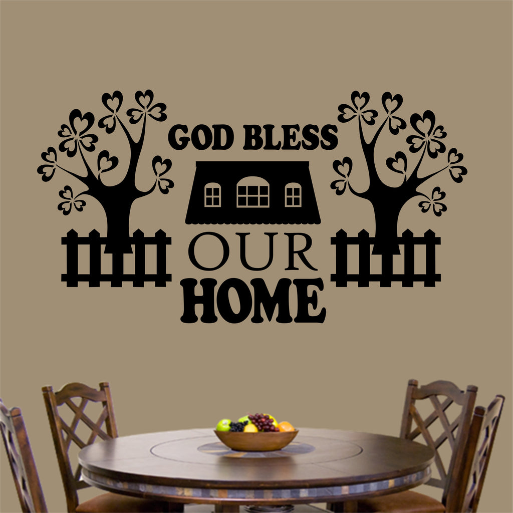 God Bless Our Home Decal | Vinyl Wall Lettering | Vinyl Words