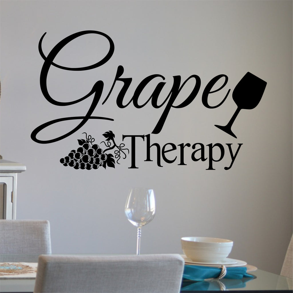 Grape Therapy Decal | Drinking Humor Quote | Vinyl Wall Lettering