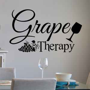 Kitchen Wall Decal Grape Therapy Funny Farmhouse Vinyl Lettering