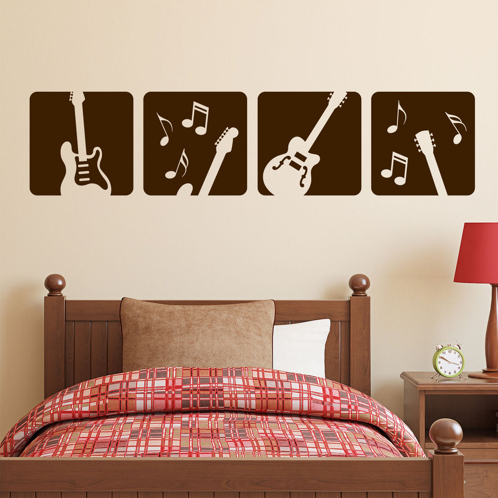 Electric Guitar Decals | Vinyl Wall Lettering | Musical Theme Decor