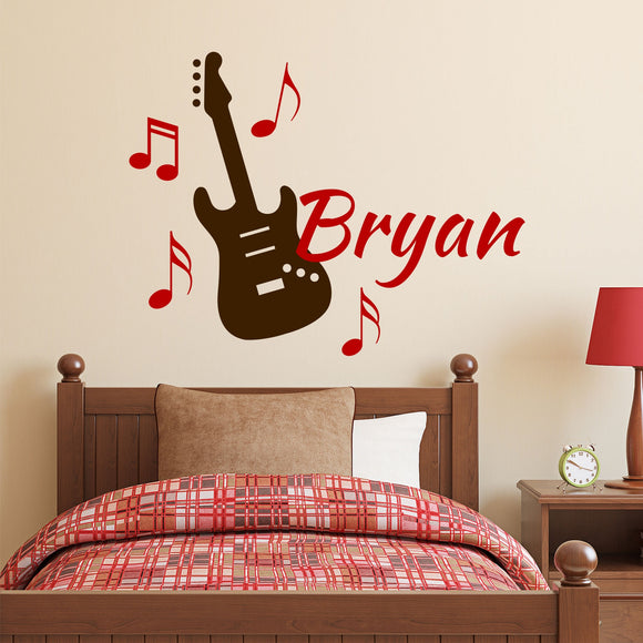 musical guitar name wall decal