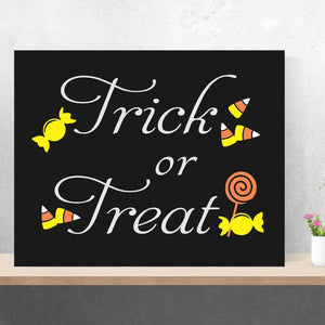 Holiday Hand Painted Canvas Halloween Trick or Treat Candy Corn Painting