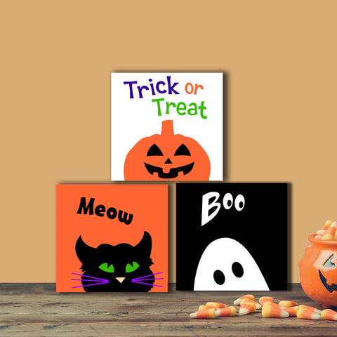 Halloween Blocks | Hand Painted Canvas Set | Cat Ghost Pumpkin