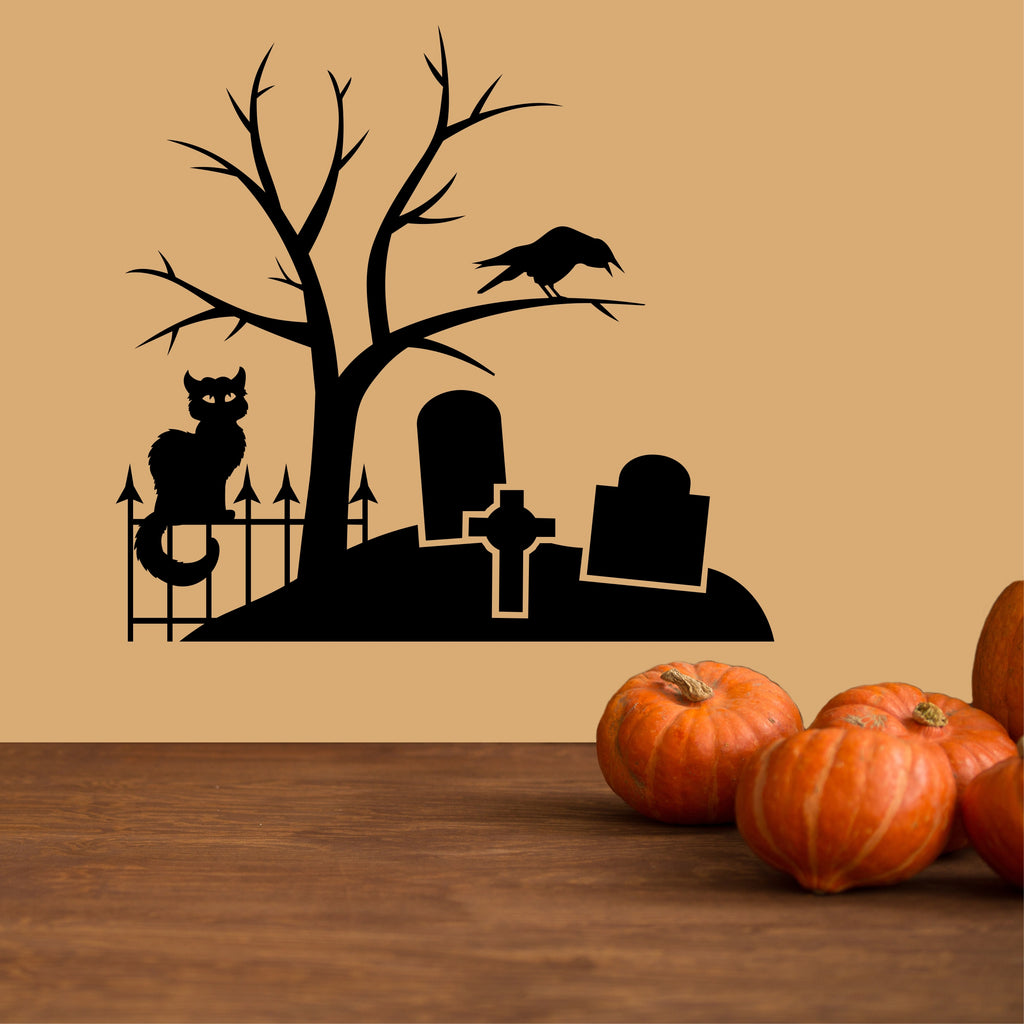 Spooky Graveyard Scene | Halloween Decals | Holiday Wall Decals