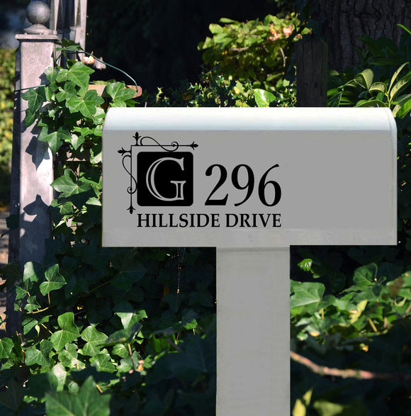 Mail Box Decal Hanging Square Monogram