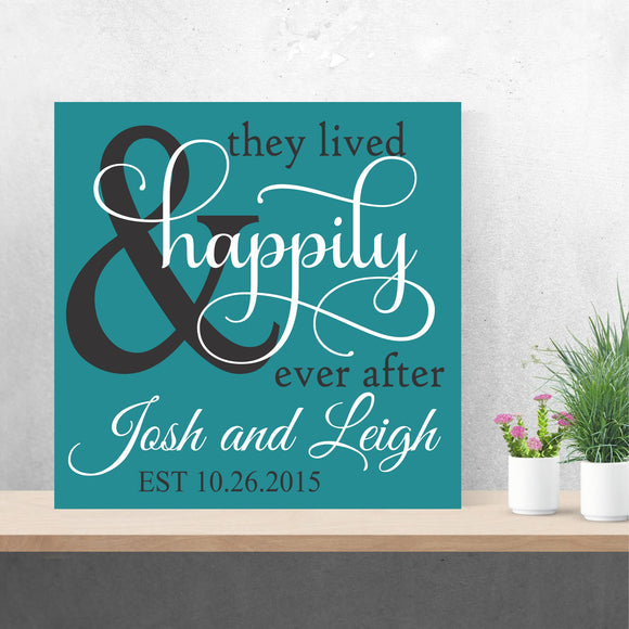 custom happily ever after wedding canvas