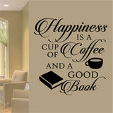 Happiness is Coffee Good Book Quote | Vinyl Lettering | Wall Decal