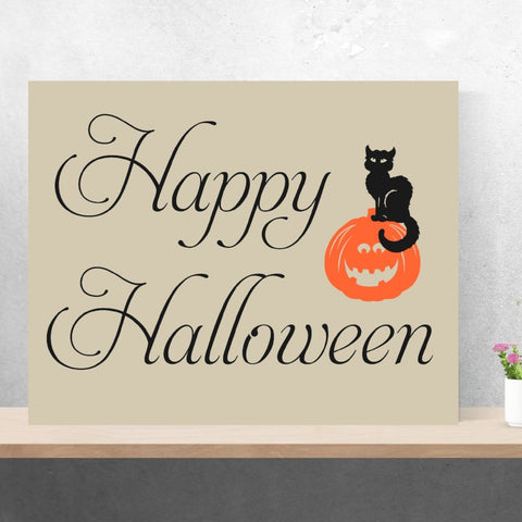Happy Halloween Painting | Handpainted Canvas | Holiday Sign